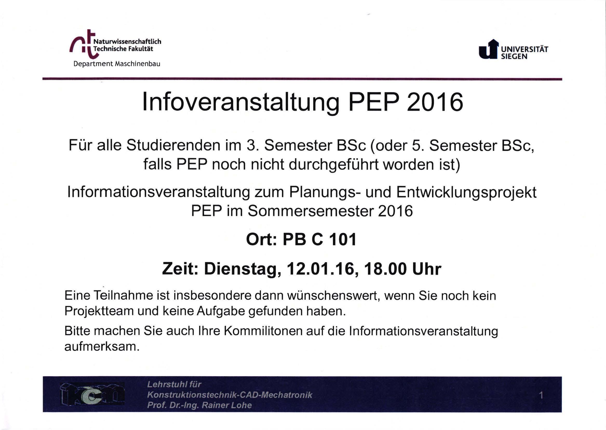 PEP Veranstaltung 2016