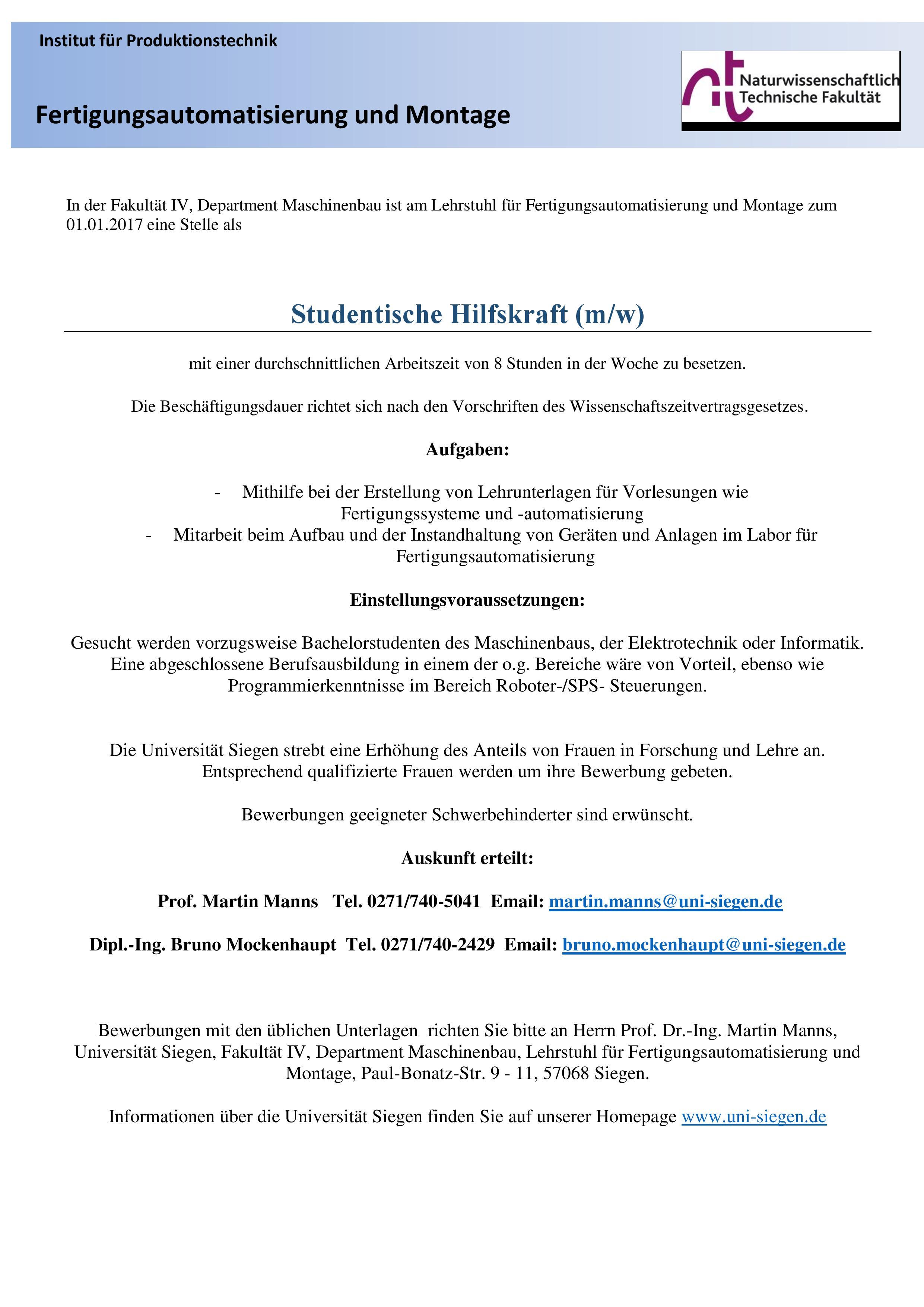 shk ii lehrstuhl fr fertigungsautomatisierung - Bewerbung Vorpraktikum